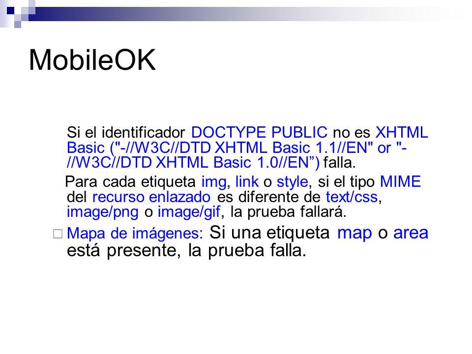 MobileOK Si el identificador DOCTYPE PUBLIC no es XHTML Basic (