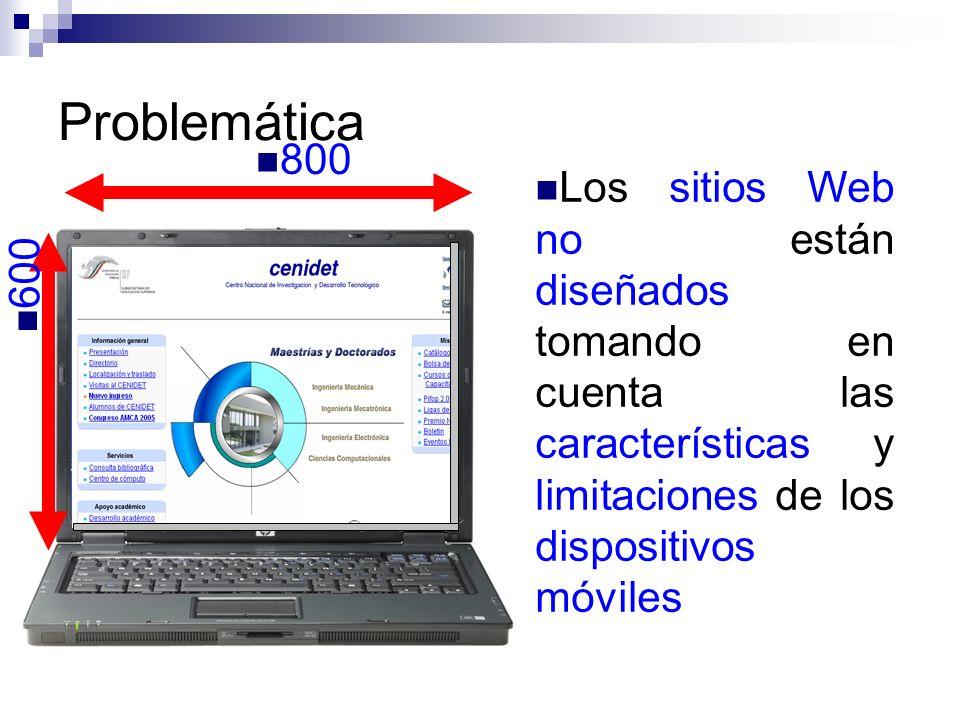 Problemática Los sitios Web no están diseñados tomando en cuenta las características y limitaciones de los dispositivos móviles 800 600 176 212 240 32