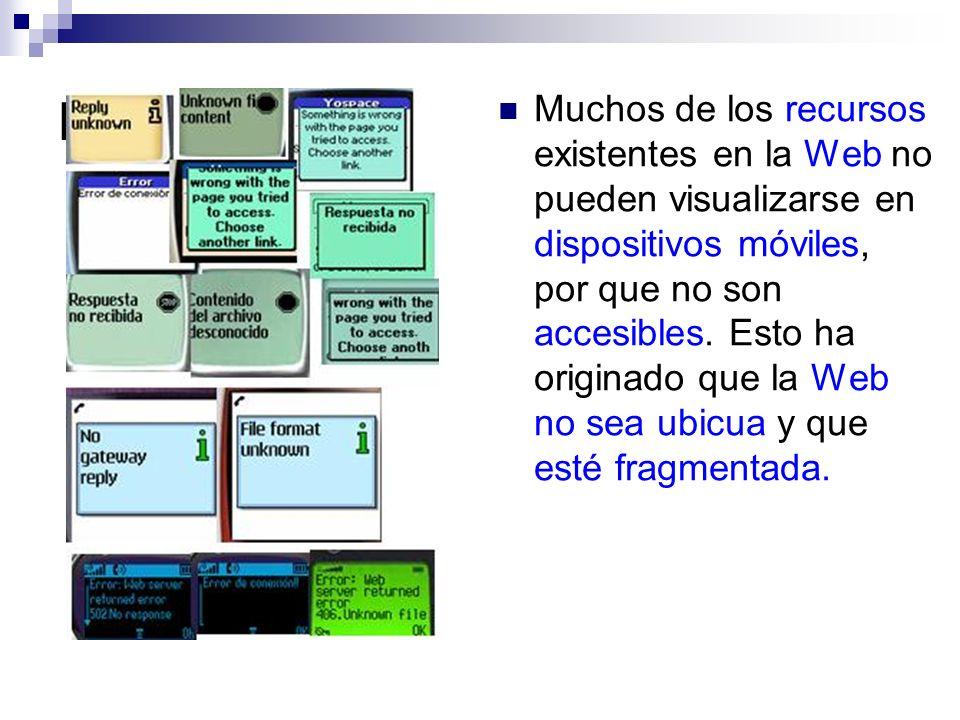 Problemática Muchos de los recursos existentes en la Web no pueden visualizarse en dispositivos móviles, por que no son accesibles. Esto ha originado
