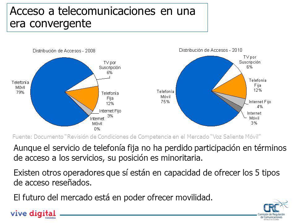 Acceso a telecomunicaciones en una era convergente Aunque el servicio de telefonía fija no ha perdido participación en términos de acceso a los servic