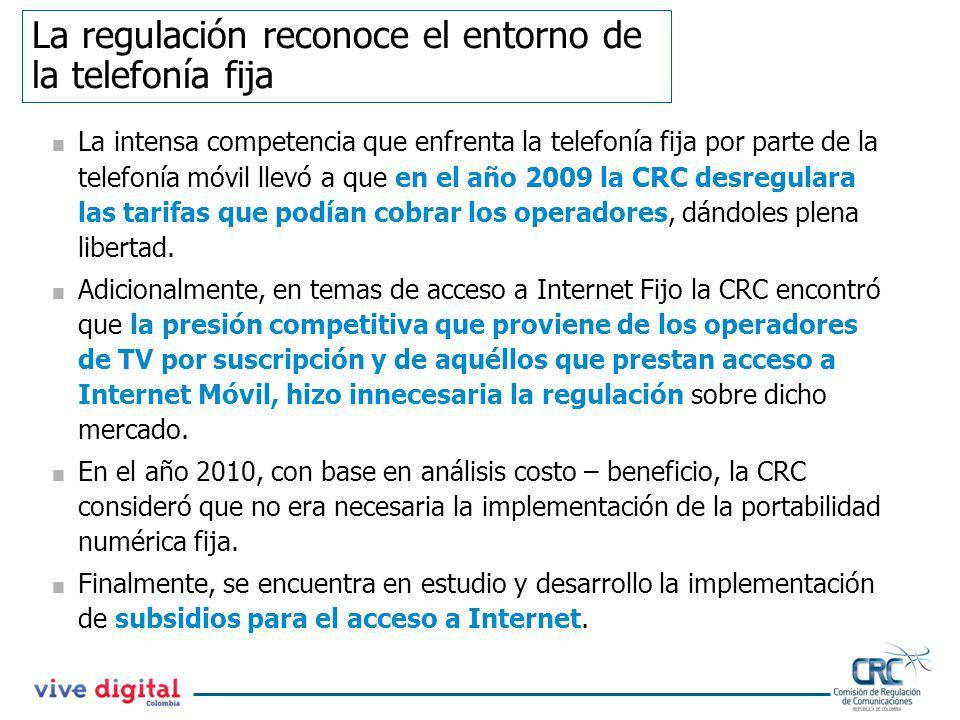 La regulación reconoce el entorno de la telefonía fija La intensa competencia que enfrenta la telefonía fija por parte de la telefonía móvil llevó a q