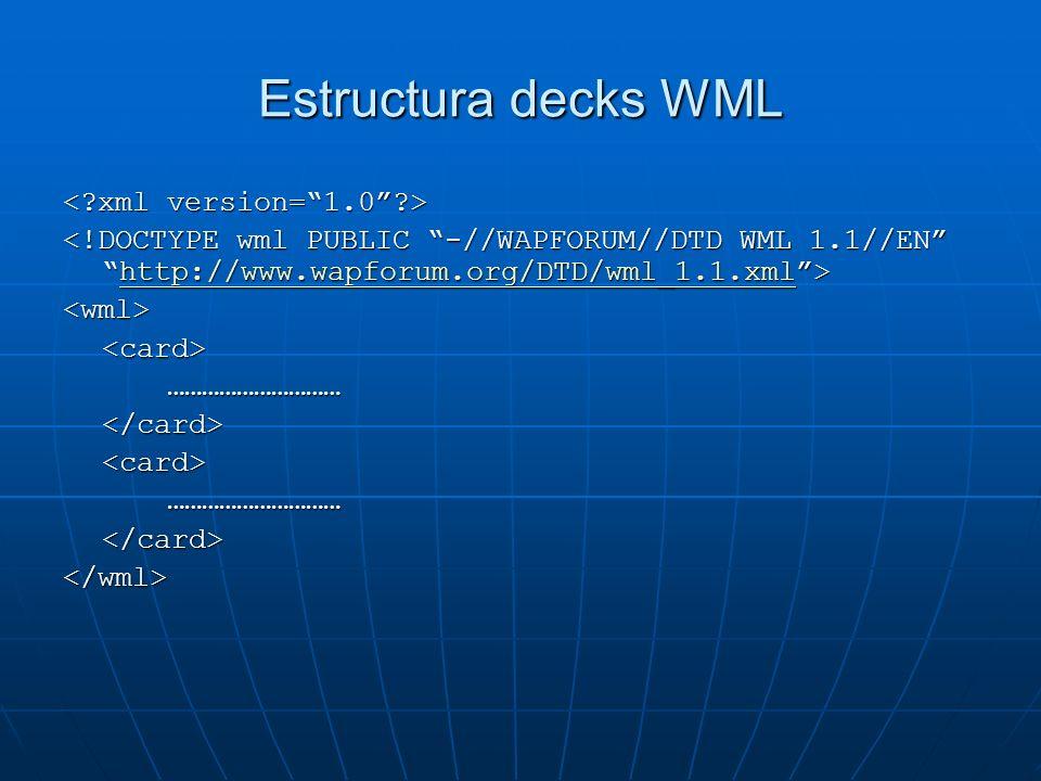 Estructura decks WML http://www.wapforum.org/DTD/wml_1.1.xml <wml><card>…………………………</card><card>…………………………</card></wml>