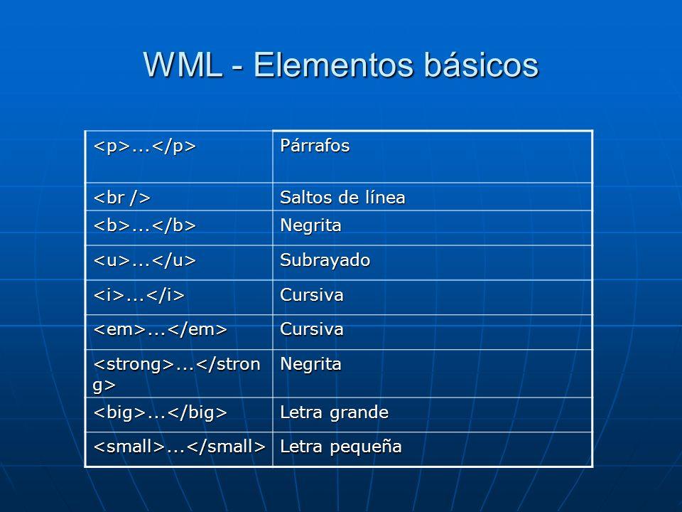 WML - Elementos básicos <p>...</p>Párrafos Saltos de línea <b>...</b>Negrita <u>...</u>Subrayado <i>...</i>Cursiva <em>...</em>Cursiva......