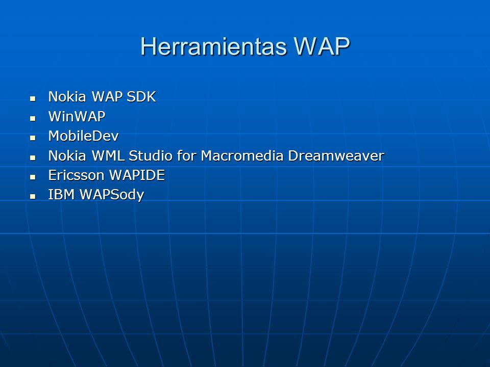 Herramientas WAP Nokia WAP SDK Nokia WAP SDK WinWAP WinWAP MobileDev MobileDev Nokia WML Studio for Macromedia Dreamweaver Nokia WML Studio for Macrom