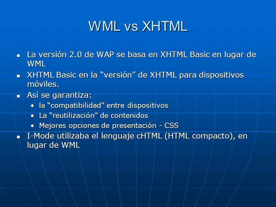 WML vs XHTML La versión 2.0 de WAP se basa en XHTML Basic en lugar de WML La versión 2.0 de WAP se basa en XHTML Basic en lugar de WML XHTML Basic en