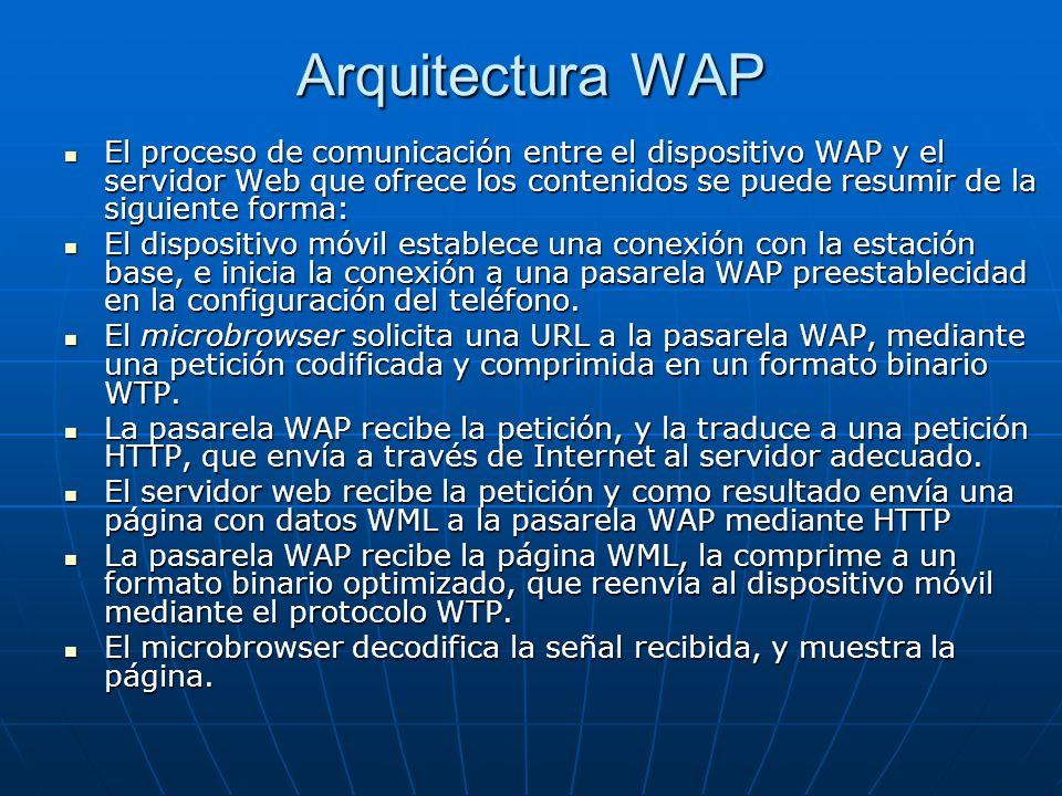 El proceso de comunicación entre el dispositivo WAP y el servidor Web que ofrece los contenidos se puede resumir de la siguiente forma: El proceso de comunicación entre el dispositivo WAP y el servidor Web que ofrece los contenidos se puede resumir de la siguiente forma: El dispositivo móvil establece una conexión con la estación base, e inicia la conexión a una pasarela WAP preestablecidad en la configuración del teléfono.