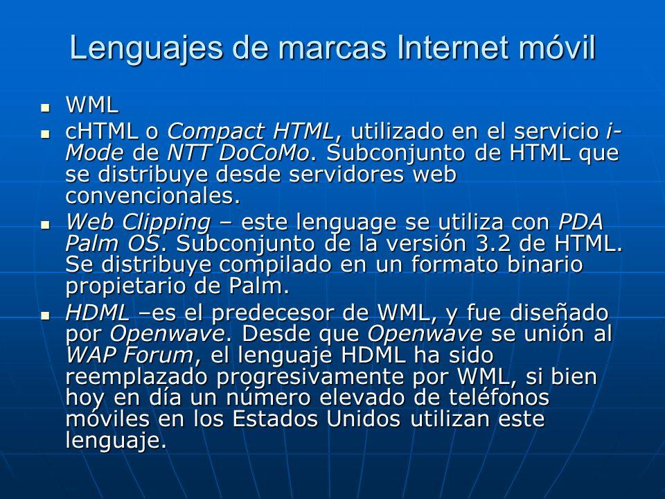 Lenguajes de marcas Internet móvil WML WML cHTML o Compact HTML, utilizado en el servicio i- Mode de NTT DoCoMo. Subconjunto de HTML que se distribuye
