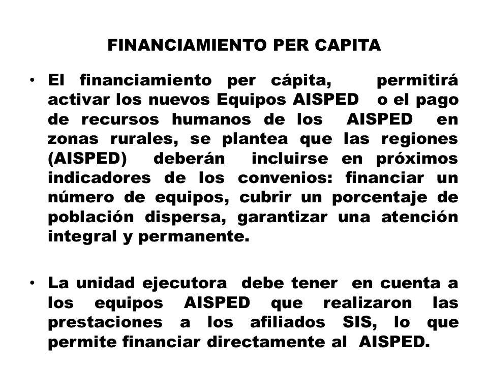 FINANCIAMIENTO PER CAPITA El financiamiento per cápita, permitirá activar los nuevos Equipos AISPED o el pago de recursos humanos de los AISPED en zon