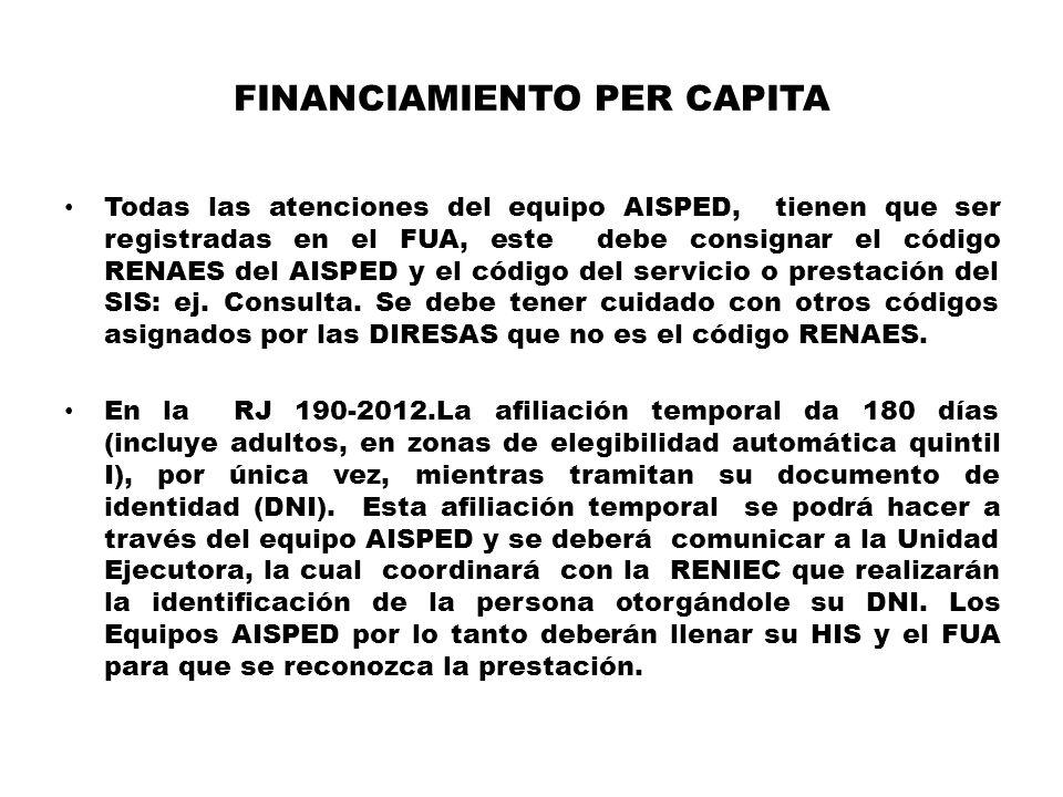 FINANCIAMIENTO PER CAPITA Todas las atenciones del equipo AISPED, tienen que ser registradas en el FUA, este debe consignar el código RENAES del AISPED y el código del servicio o prestación del SIS: ej.