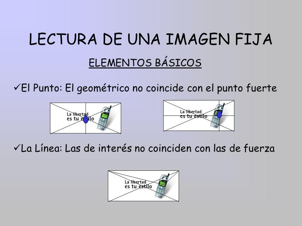 LECTURA DE UNA IMAGEN FIJA El Punto: El geométrico no coincide con el punto fuerte ELEMENTOS BÁSICOS La Línea: Las de interés no coinciden con las de