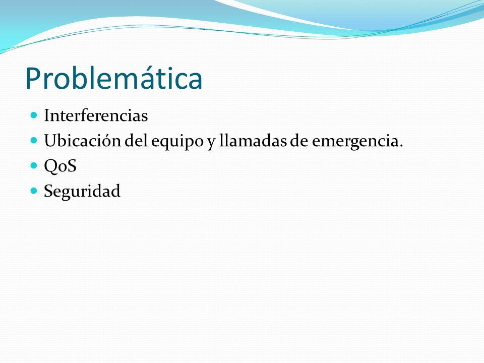 Problemática Interferencias Ubicación del equipo y llamadas de emergencia. QoS Seguridad