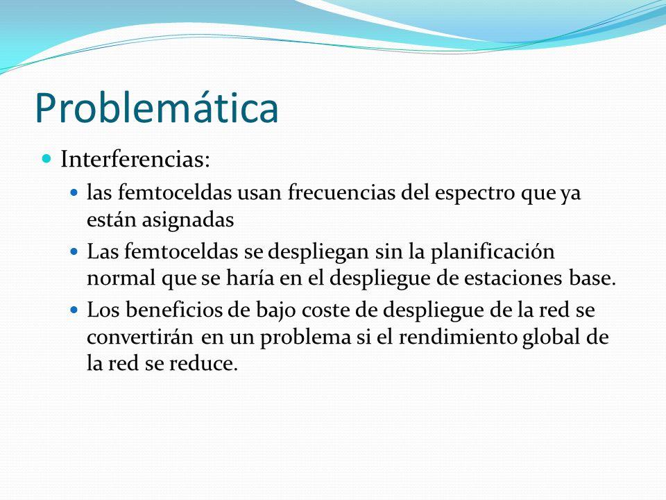 Problemática Interferencias: las femtoceldas usan frecuencias del espectro que ya están asignadas Las femtoceldas se despliegan sin la planificación n