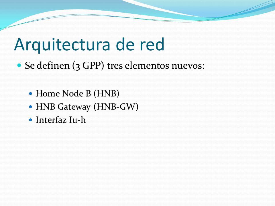 Arquitectura de red Se definen (3 GPP) tres elementos nuevos: Home Node B (HNB) HNB Gateway (HNB-GW) Interfaz Iu-h