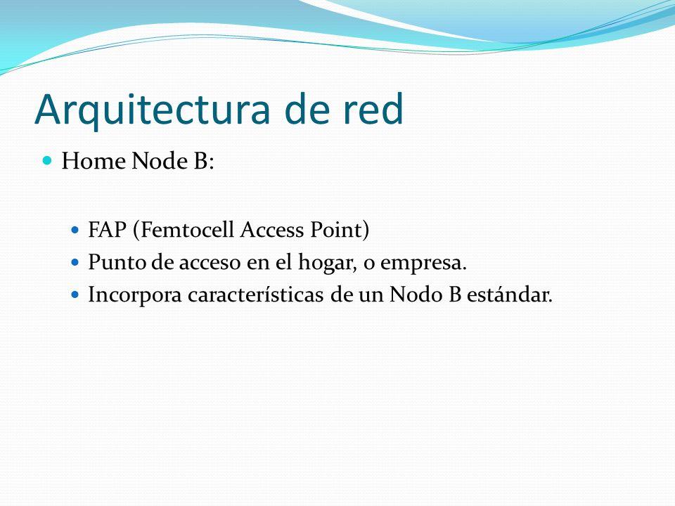 Arquitectura de red Home Node B: FAP (Femtocell Access Point) Punto de acceso en el hogar, o empresa. Incorpora características de un Nodo B estándar.
