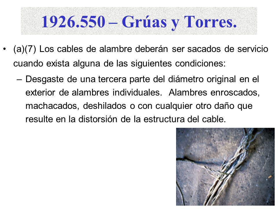 1926.550 – Grúas y Torres. (a)(7) Los cables de alambre deberán ser sacados de servicio cuando exista alguna de las siguientes condiciones: –En cables