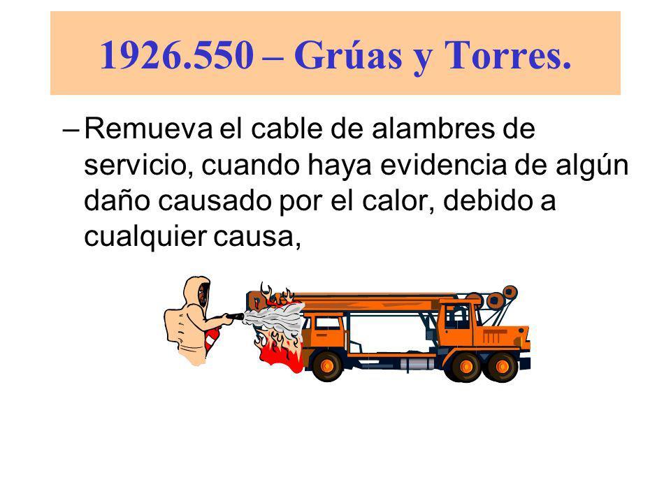1926.550 – Grúas y Torres. (a)(7) Los cables de alambre deberán ser sacados de servicio cuando exista alguna de las siguientes condiciones: –Desgaste