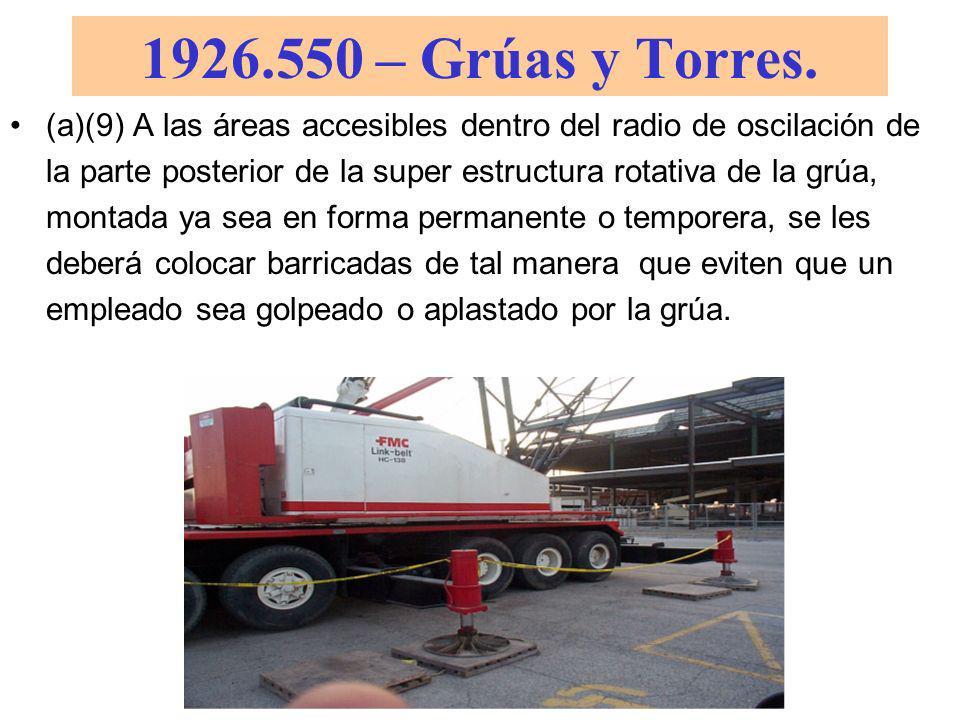 1926.550 – Grúas y Torres. El equipo o las piezas móviles deberán ser cubiertas con un resguardo si los empleados estuvieran expuestos al contacto con