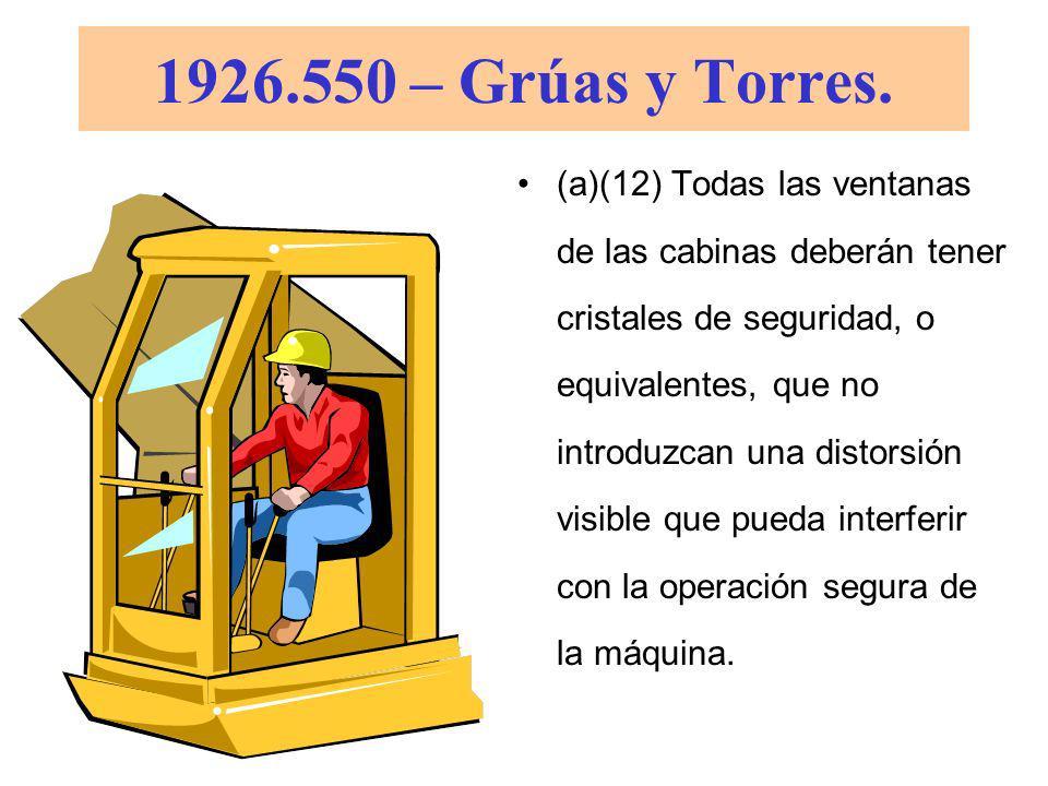 1926.550 – Grúas y Torres. (a)(11) Cuando haya equipos impulsados con motores de combustión interna que descargan gases en espacios cerrados, se deber