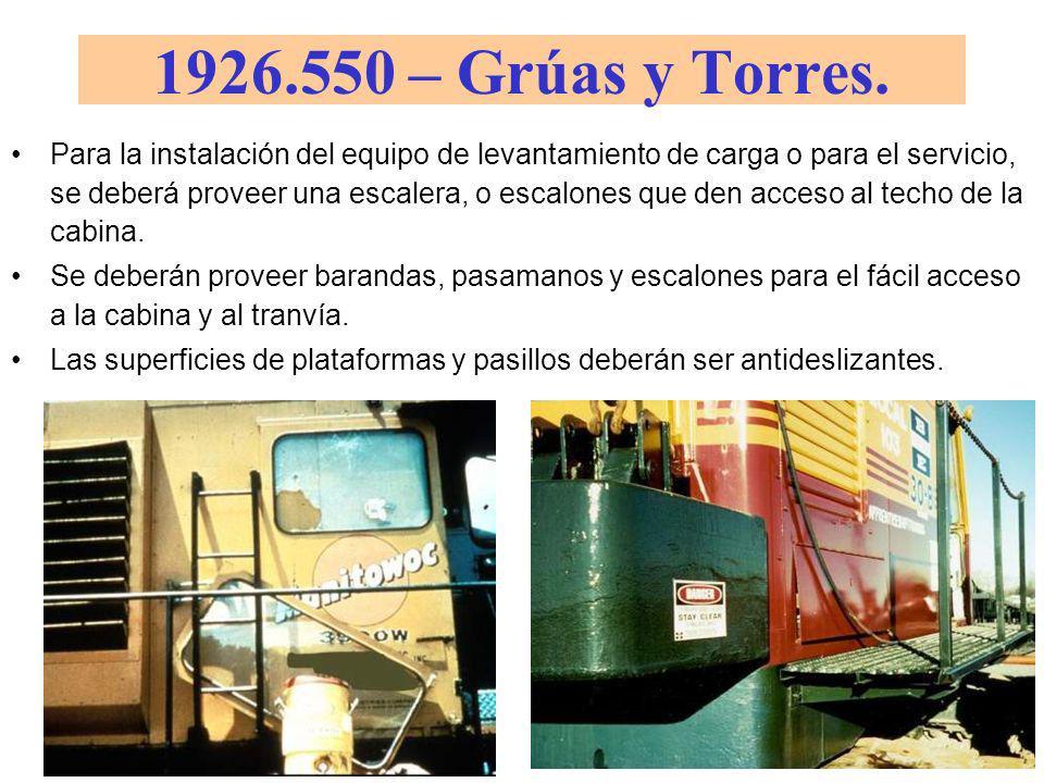 1926.550 – Grúas y Torres. (a)(12) Todas las ventanas de las cabinas deberán tener cristales de seguridad, o equivalentes, que no introduzcan una dist