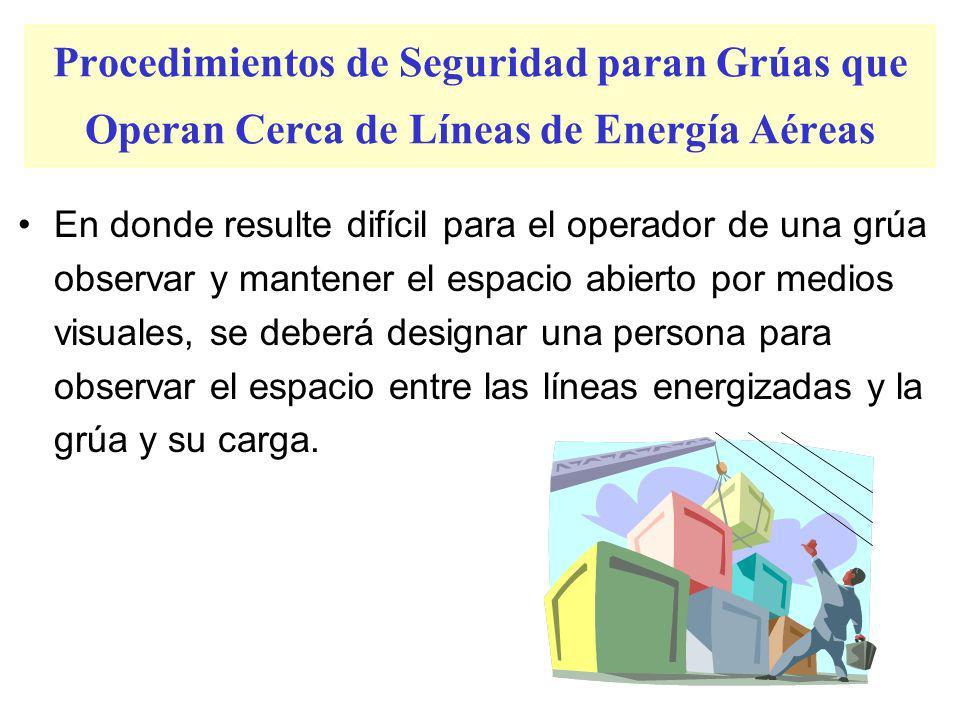 –Para líneas con una especificación de 50 kV., 10 pies; –Para líneas con una especificación mayor de 50 kV., 10 pies más 0.4 pulgadas por cada 1 kV. s