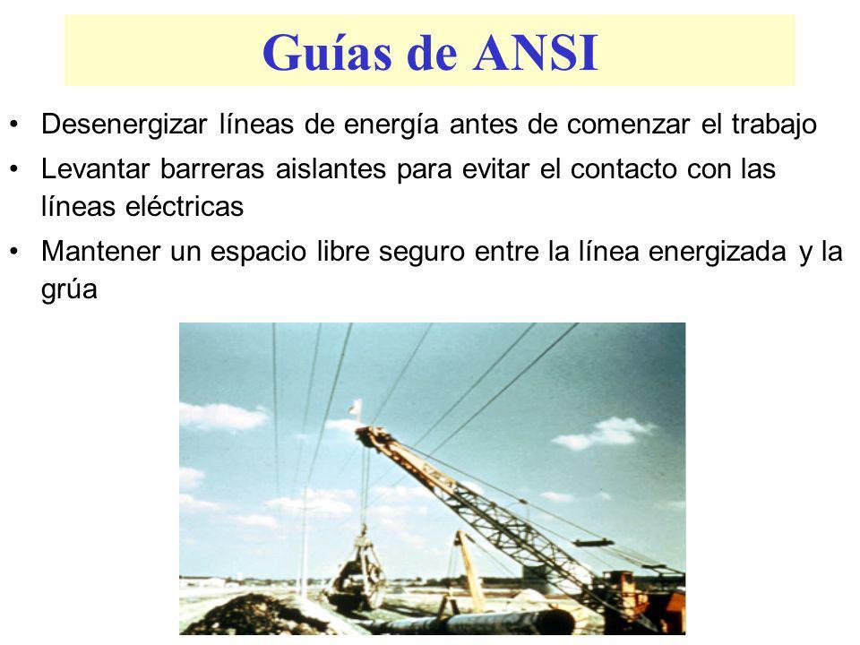 Líneas Eléctricas Energizadas Cualquier línea eléctrica aérea deberá ser considerada energizada, a menos que el dueño de la línea o la compañía de uti