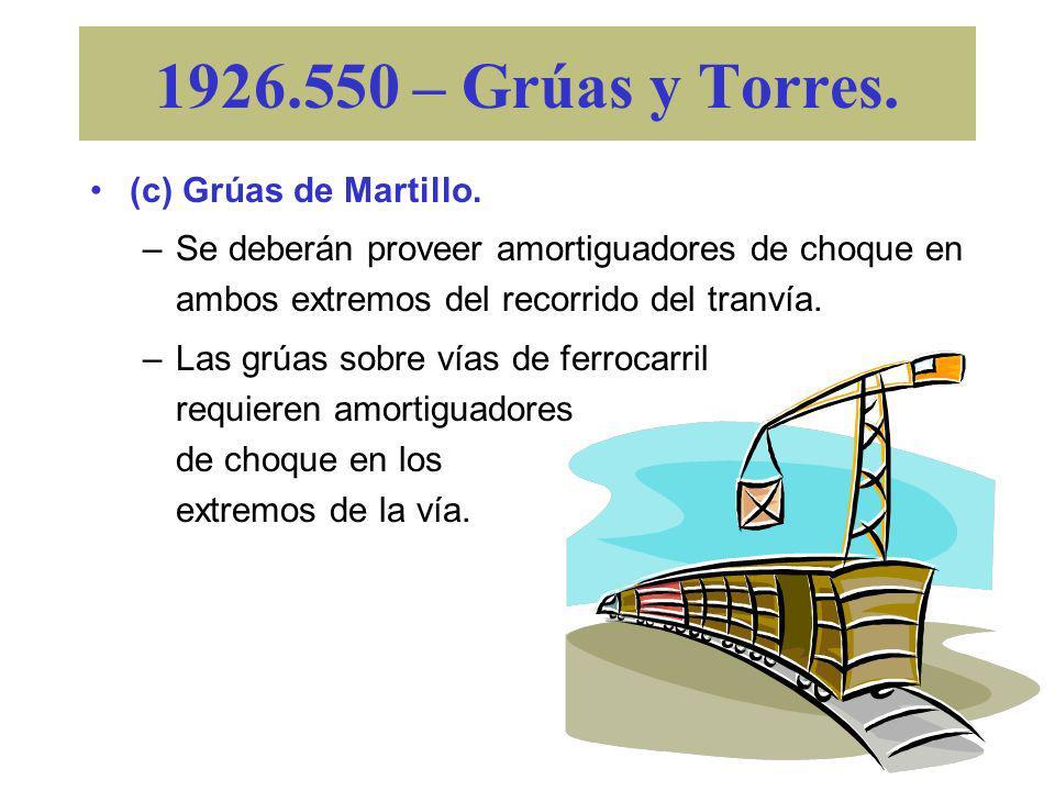 1926.550 – Grúas y Torres. (c) Grúas de Martillo. –Se deberá mantener un espacio abierto adecuado entre las estructuras móviles y rotatorias de la grú