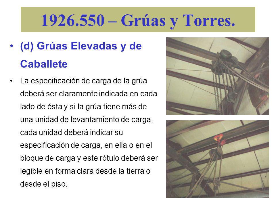 1926.550 – Grúas y Torres. (c) Grúas de Martillo. –Se deberán proveer amortiguadores de choque en ambos extremos del recorrido del tranvía. –Las grúas