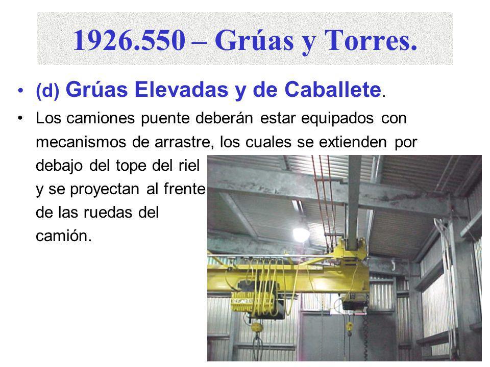 1926.550 – Grúas y Torres. (d) Grúas Elevadas y de Caballete La especificación de carga de la grúa deberá ser claramente indicada en cada lado de ésta