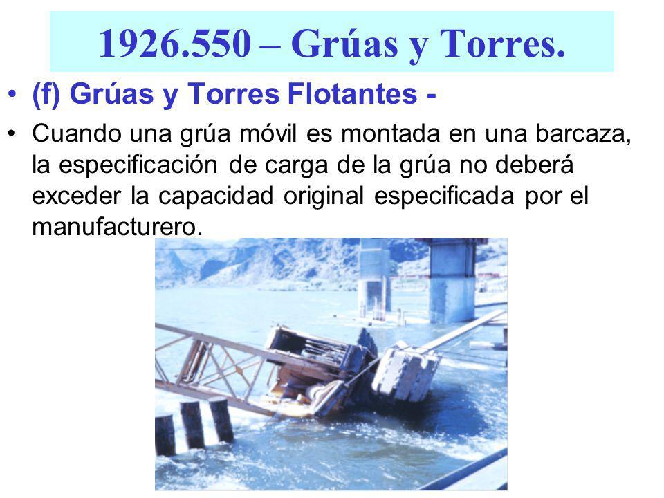 1926.550 – Grúas y Torres. (d) Grúas Elevadas y de Caballete. Cada grúa equipada con un mecanismo de recorrido impulsado con energía eléctrica, deberá