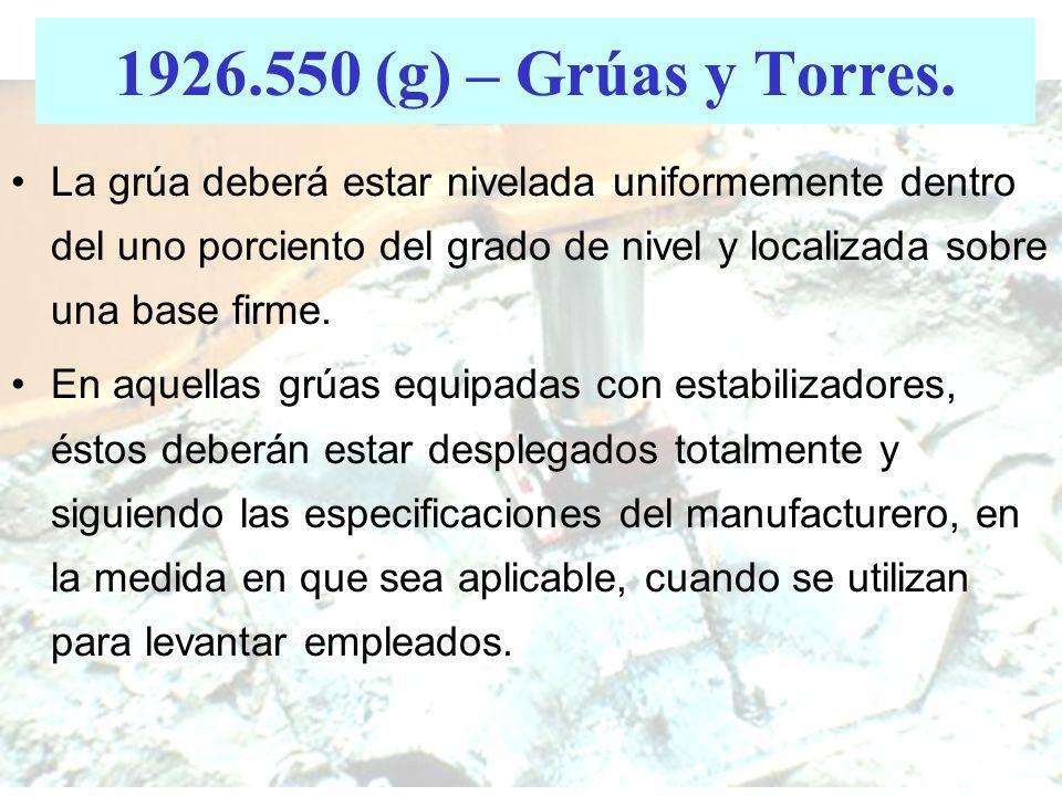 1926.550 (g) – Grúas y Torres El uso de una grúa o torre para transportar empleados en una plataforma de personal está prohibido, excepto cuando la co