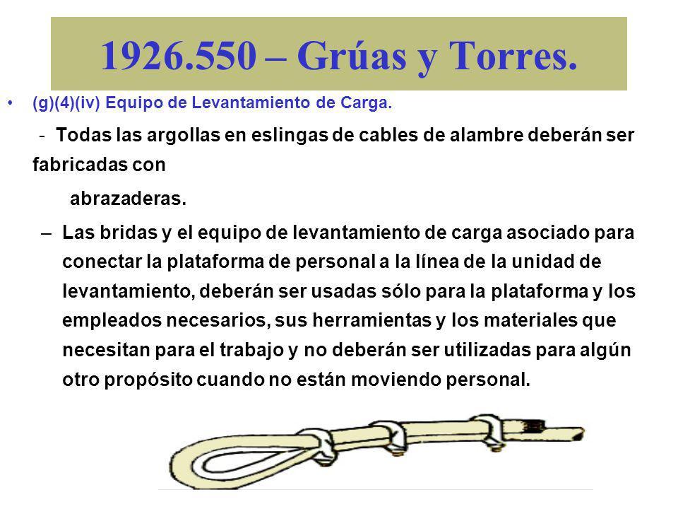 1926.550 – Grúas y Torres. (g)(4)(iv) Equipo de Levantamiento de Carga. –Los ganchos en los ensamblajes de bola, los bloques de carga bajos u otros ac