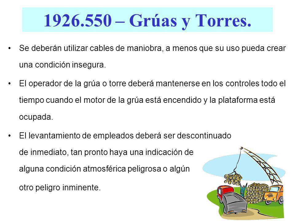 1926.550 – Grúas y Torres. (g)(4)(iv) Equipo de Levantamiento de Carga. - Todas las argollas en eslingas de cables de alambre deberán ser fabricadas c