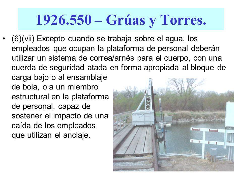 1926.550 – Grúas y Torres. Los empleados que son transportados deberán permanecer siempre a la vista y en comunicación directa con el operador o la pe