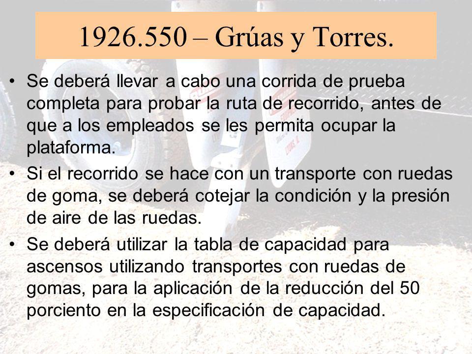 1926.550 – Grúas y Torres. (6)(vii) Excepto cuando se trabaja sobre el agua, los empleados que ocupan la plataforma de personal deberán utilizar un si