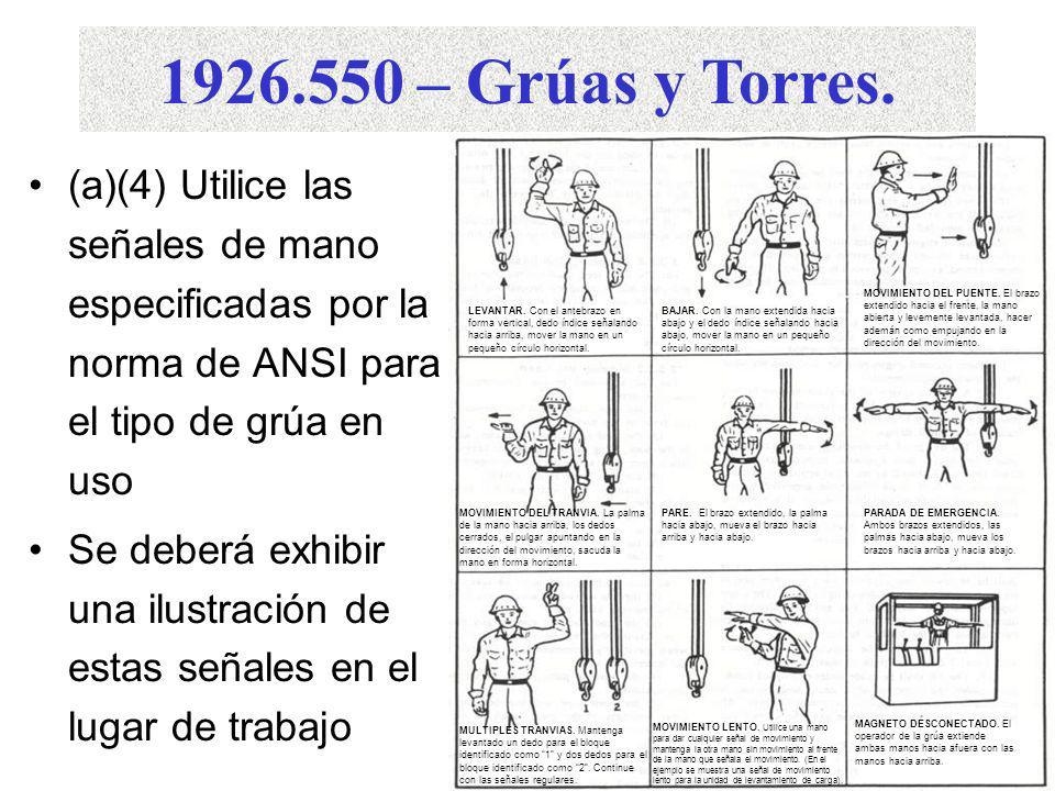 1926.550 – Grúas y Torres. (a)(2) Especificaciones de capacidad de carga colocadas en forma visible Advertencias visibles al operador mientras éste es