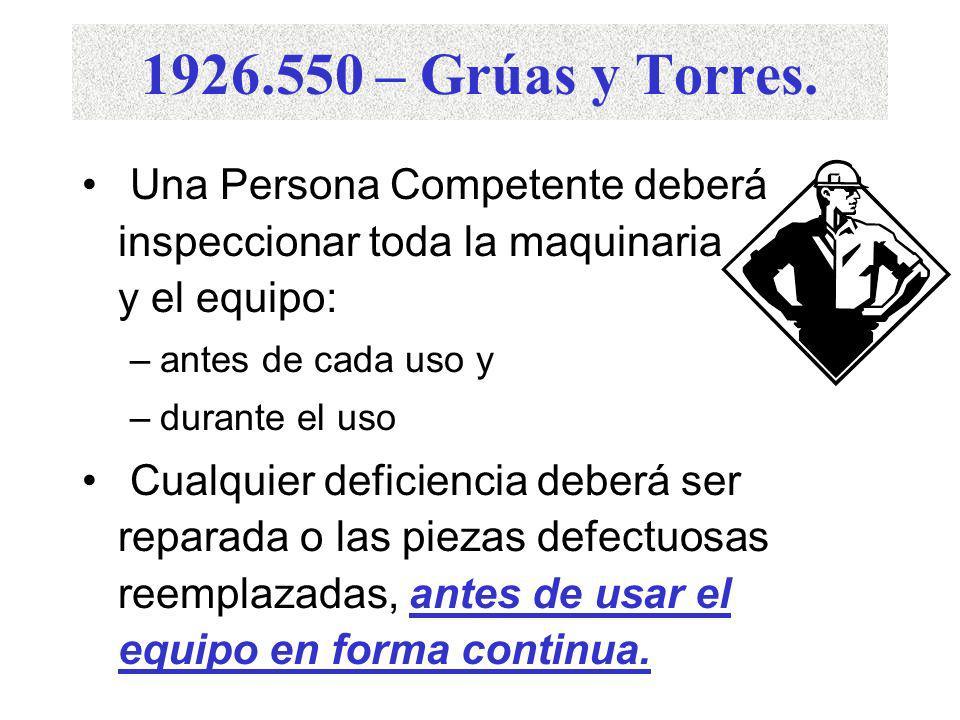 1926.550 – Grúas y Torres. (a)(4) Utilice las señales de mano especificadas por la norma de ANSI para el tipo de grúa en uso Se deberá exhibir una ilu