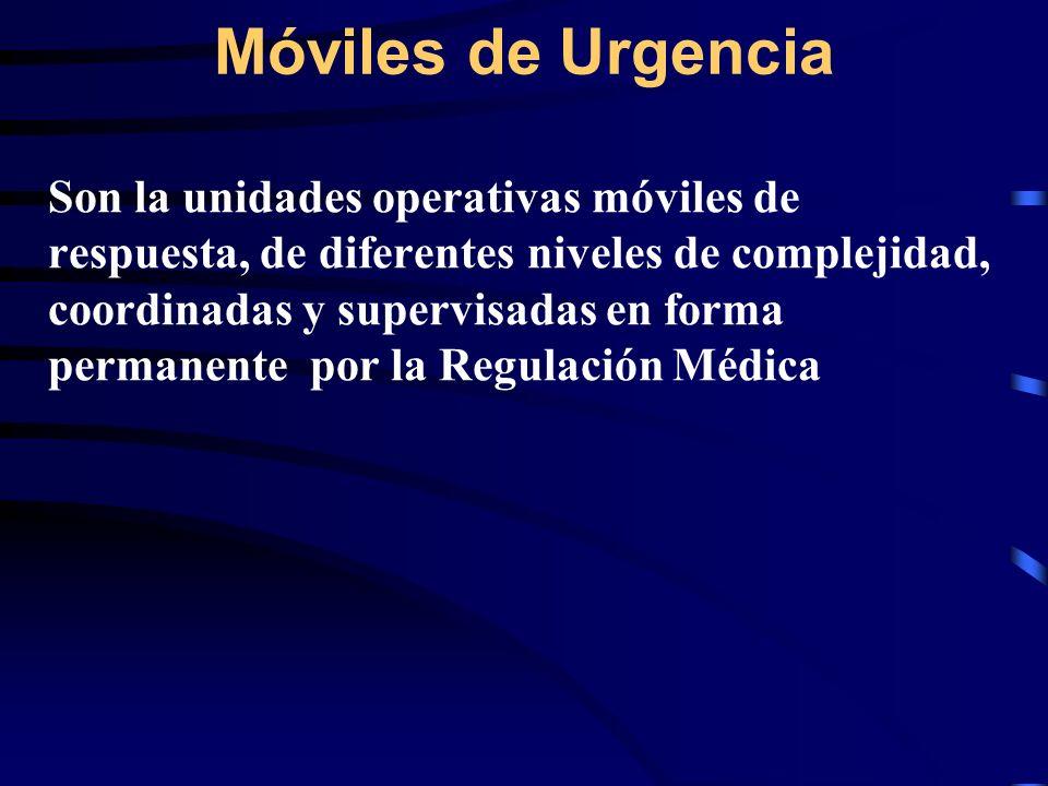 Móviles de Urgencia Son la unidades operativas móviles de respuesta, de diferentes niveles de complejidad, coordinadas y supervisadas en forma permane