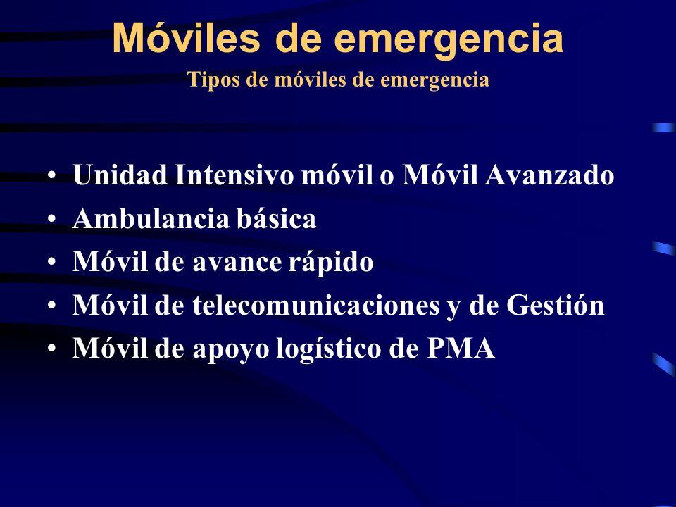 Tipos de móviles de emergencia Unidad Intensivo móvil o Móvil Avanzado Ambulancia básica Móvil de avance rápido Móvil de telecomunicaciones y de Gestión Móvil de apoyo logístico de PMA Móviles de emergencia