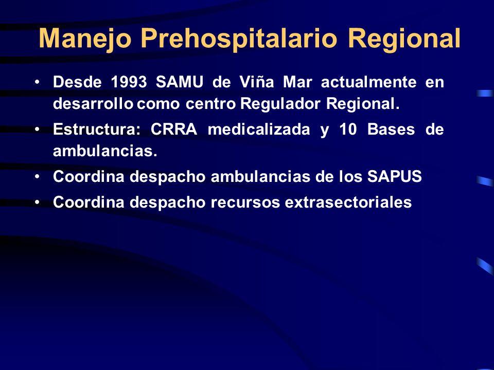 Manejo Prehospitalario Regional Desde 1993 SAMU de Viña Mar actualmente en desarrollo como centro Regulador Regional. Estructura: CRRA medicalizada y