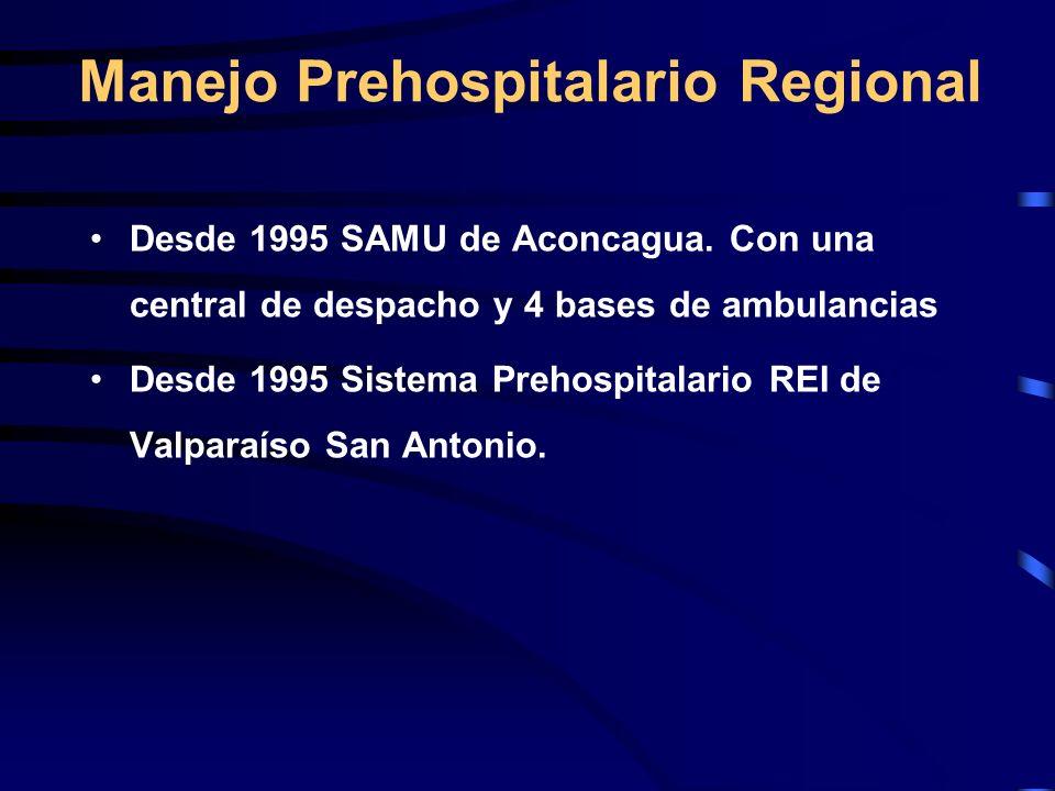 Desde 1995 SAMU de Aconcagua. Con una central de despacho y 4 bases de ambulancias Desde 1995 Sistema Prehospitalario REI de Valparaíso San Antonio. M