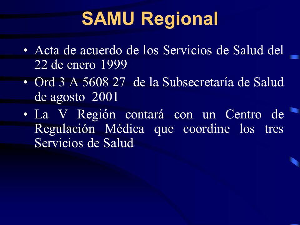 SAMU Regional Acta de acuerdo de los Servicios de Salud del 22 de enero 1999 Ord 3 A 5608 27 de la Subsecretaría de Salud de agosto 2001 La V Región contará con un Centro de Regulación Médica que coordine los tres Servicios de Salud