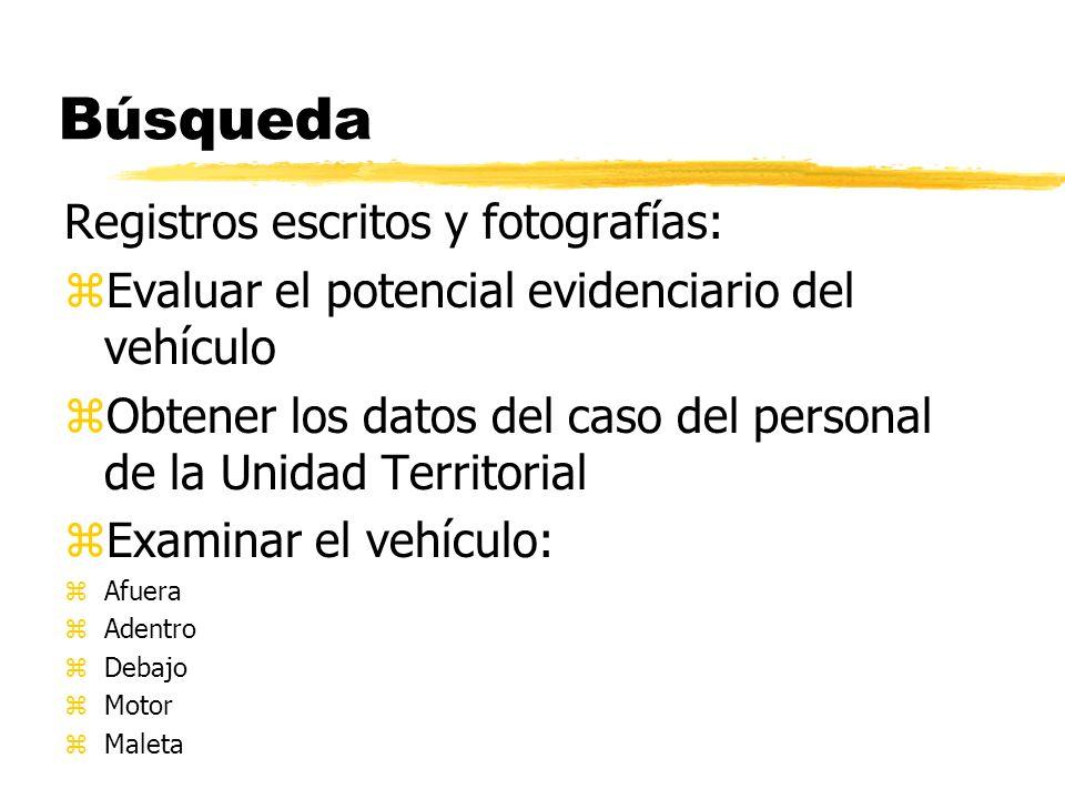 Búsqueda Registros escritos y fotografías: zEvaluar el potencial evidenciario del vehículo zObtener los datos del caso del personal de la Unidad Territorial zExaminar el vehículo: zAfuera zAdentro zDebajo zMotor zMaleta