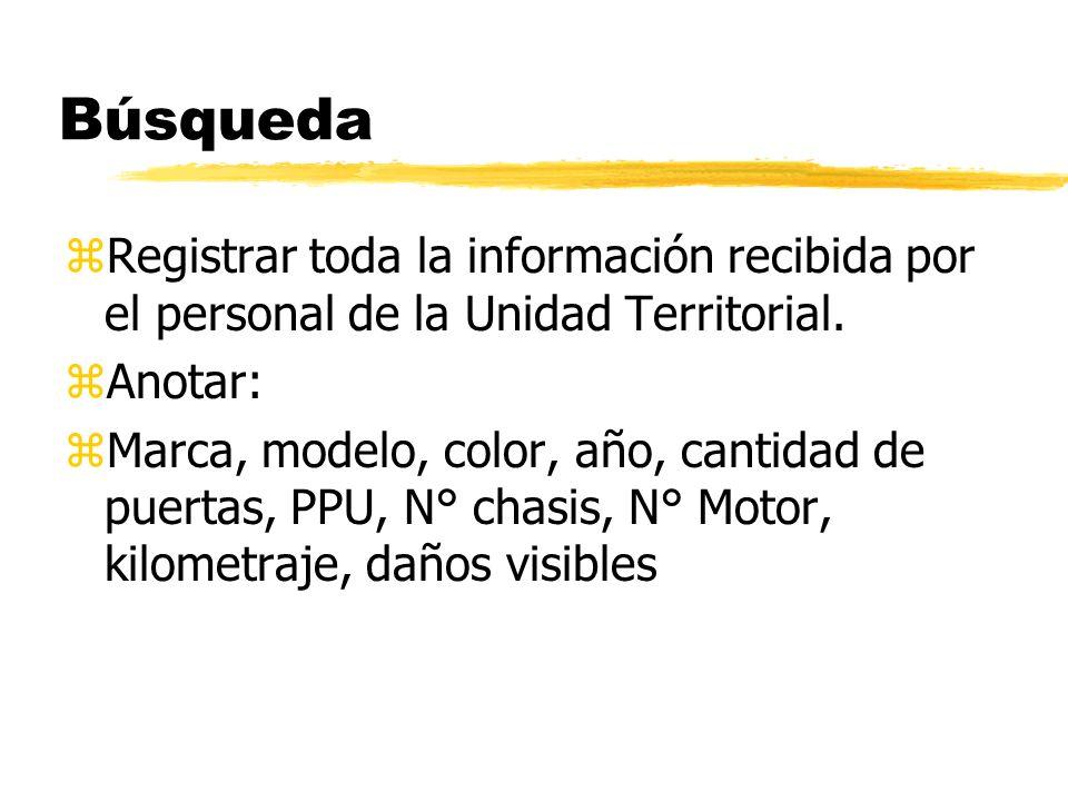 Búsqueda zRegistrar toda la información recibida por el personal de la Unidad Territorial.