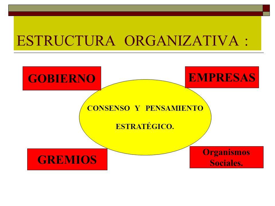 ESTRUCTURA ORGANIZATIVA : CONSENSO Y PENSAMIENTO ESTRATÉGICO. GOBIERNO EMPRESAS GREMIOS Organismos Sociales.