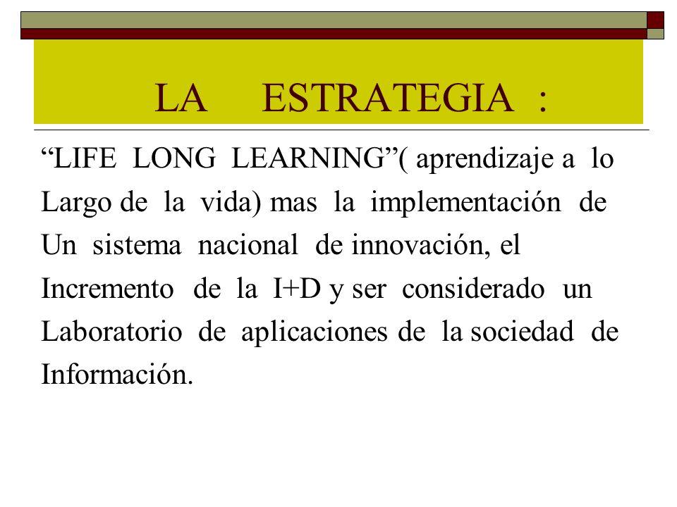 LA ESTRATEGIA : LIFE LONG LEARNING( aprendizaje a lo Largo de la vida) mas la implementación de Un sistema nacional de innovación, el Incremento de la