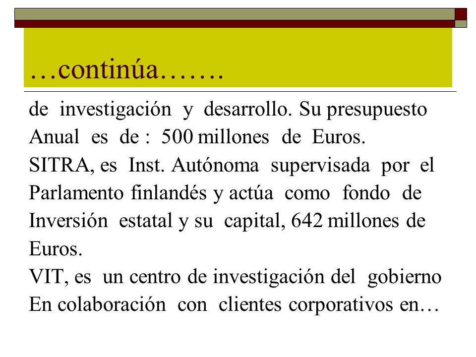 …continúa……. de investigación y desarrollo. Su presupuesto Anual es de : 500 millones de Euros. SITRA, es Inst. Autónoma supervisada por el Parlamento