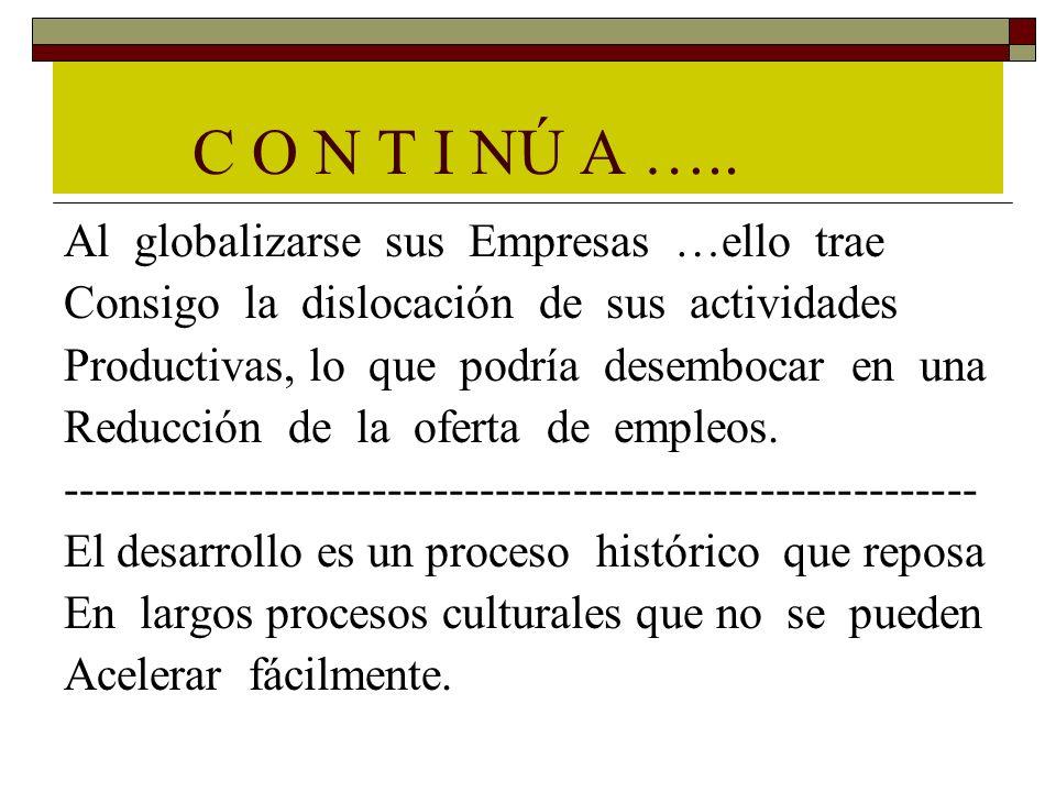 C O N T I NÚ A ….. Al globalizarse sus Empresas …ello trae Consigo la dislocación de sus actividades Productivas, lo que podría desembocar en una Redu