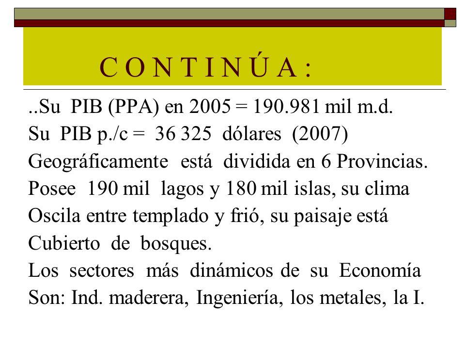 C O N T I N Ú A :..Su PIB (PPA) en 2005 = 190.981 mil m.d. Su PIB p./c = 36 325 dólares (2007) Geográficamente está dividida en 6 Provincias. Posee 19