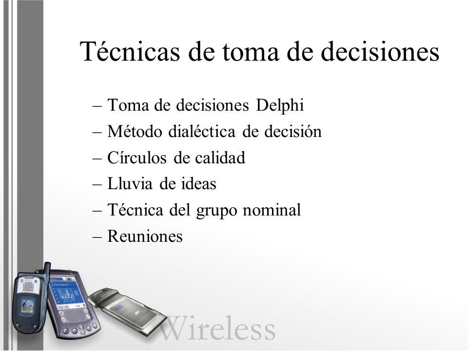 Técnicas de toma de decisiones –Toma de decisiones Delphi –Método dialéctica de decisión –Círculos de calidad –Lluvia de ideas –Técnica del grupo nomi