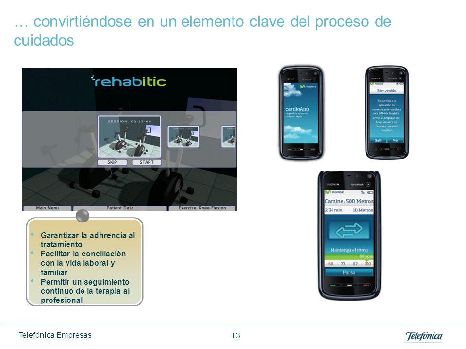 Telefónica Empresas 13 … convirtiéndose en un elemento clave del proceso de cuidados Garantizar la adhrencia al tratamiento Facilitar la conciliación